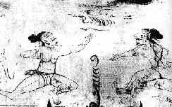 Fresque représentant des guerriers Sun Bi